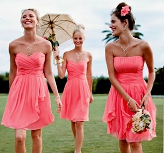 Coral bridesmaid dresses? Don't normally like the color, but these are super