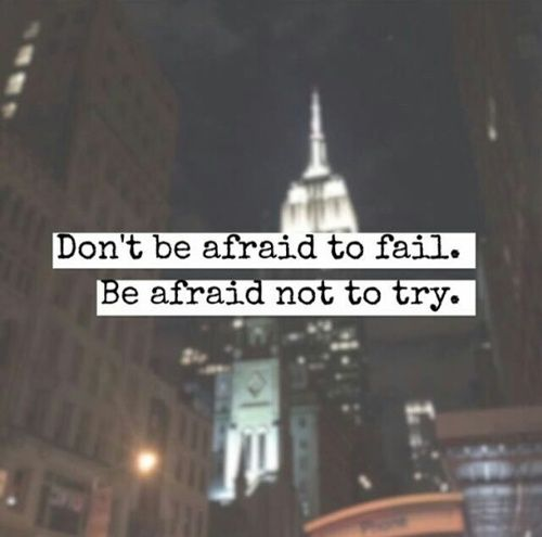 quote, try, and afraid image