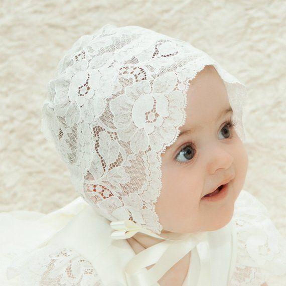 lace baby bonnet baby girl bonnet Baptism bonnet