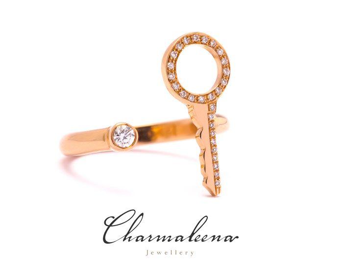 Key to my heart ring in diamonds – Rose Gold-..#key  #diamond #ring  #jewellery  #mycharmaleena #charmaleena #finejewellery  #RoseGold   #jeddah #riyadh #ksa #saudi #saudiarabia #Dubai #online #جدة  #السعودية  #دبي #الرياض