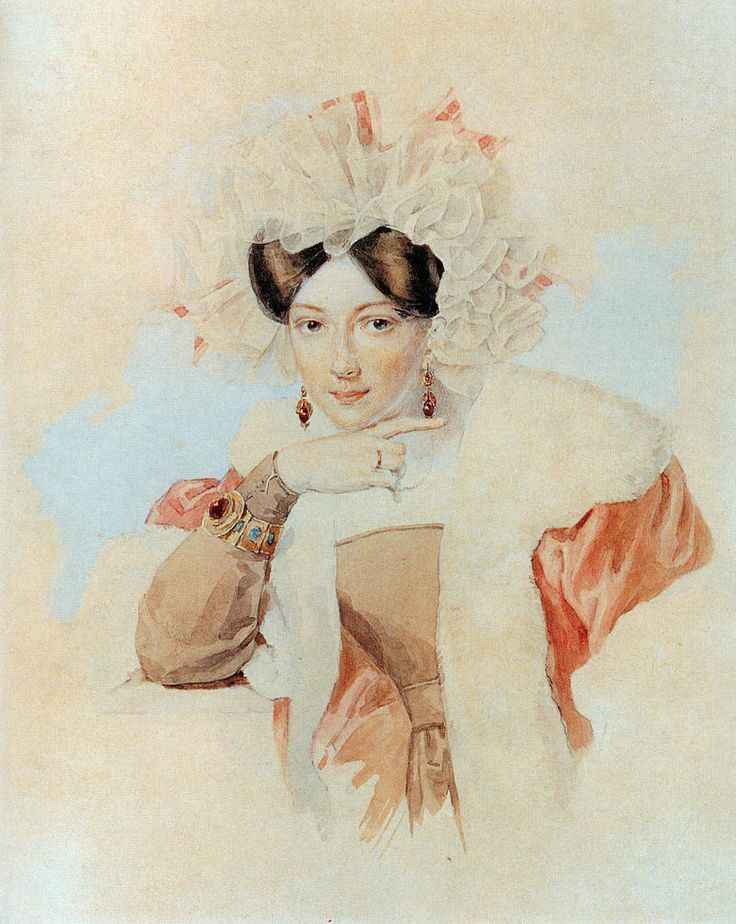Peter Sokolov - Portrait of Yulia Pavlovna Sokolova, Wife of the Artist P.F.Sokolov
