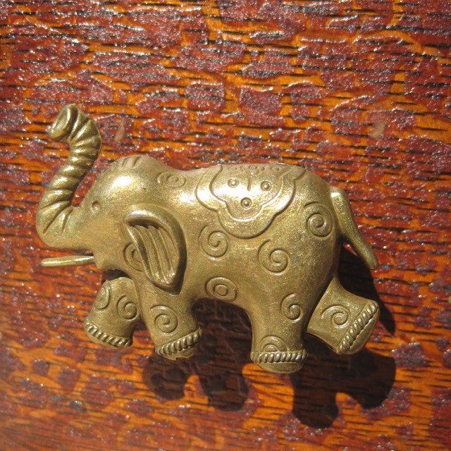 Brass Elephant Drawer Knob With Swirls