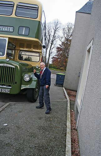 Alister Posing By The Vintage Bus, Aberdeen Model Railway Show