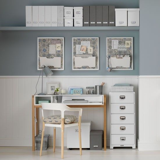 Calming pale blue and white home office