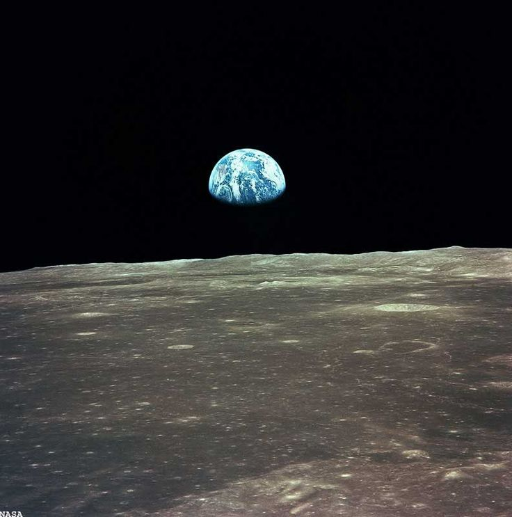 This view of the Earth rising over the Moon's horizon was taken from the Apollo spacecraft.