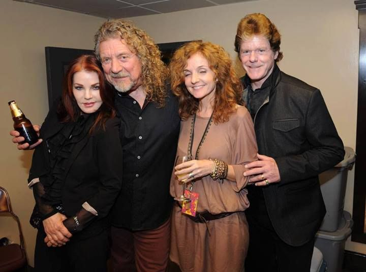 Robert Plant of Led Zeppelin with Priscilla Presley, Patty Griffin and Jerry Schillings backstage at Patty's recent LA show