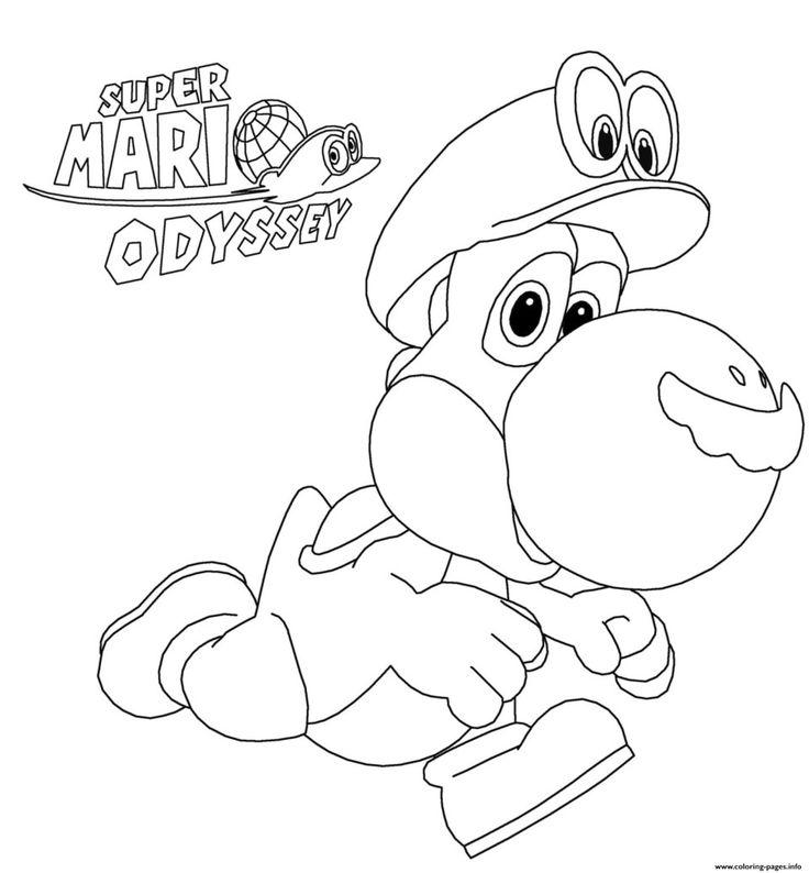 Mario Coloring Pages Super Mario Odyssey Yoshi Nintendo ...