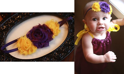 New LSU Football Shabby Chic Headband for baby girls adults newborn 6 months