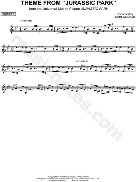 Print and download Theme from Jurassic Park sheet music from Jurassic Park arranged for Trumpet. Instrumental Solo in Bb Major.