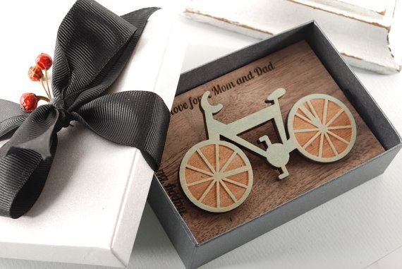 BICYCLE BROOCH ready to give gift box solid Beech by MoodForWood