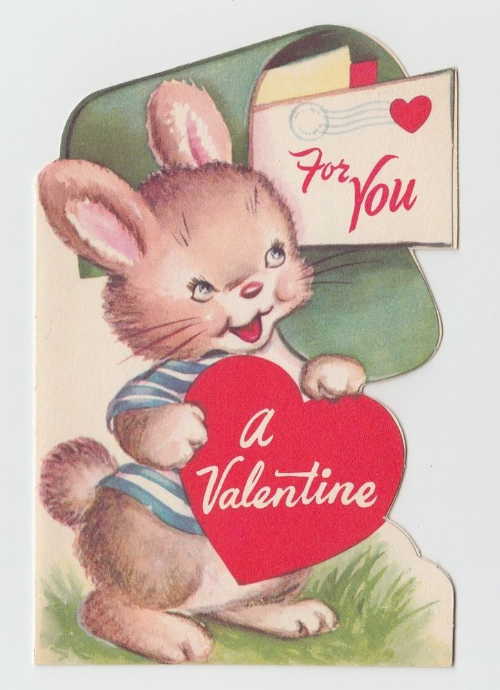 Vintage Greeting Card Valentine Mailbox Bunny Rabbit Cute
