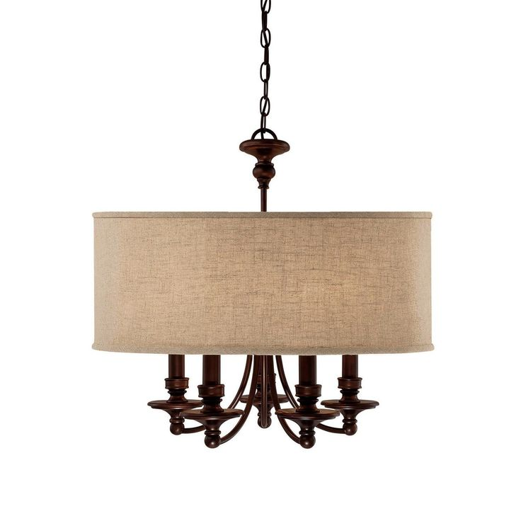 Springfield Linen Shade Chandelier 5 Light 119