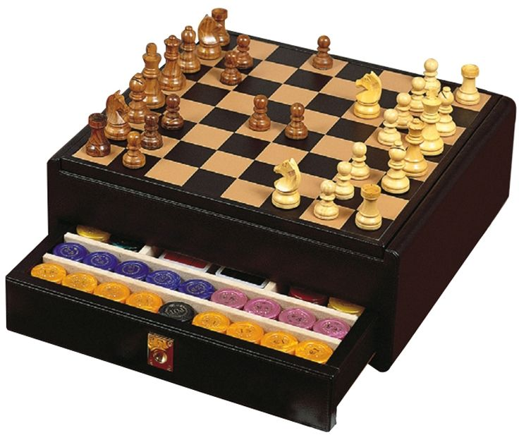 Набор 3 в 1: шахматы, шашки, покер Renzo Romagnoli Mirage Chessboard Trunk Black Dollar Leather / Игры Renzo Romagnoli / Настольные игры / Каталог / R-Gifts – интернет магазин подарков и сувениров