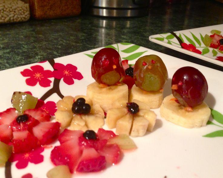 Abby's grape penguins on banana icebergs.