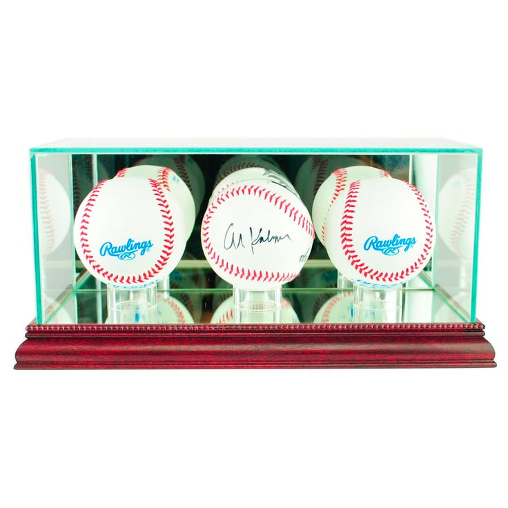 Perfect Cases - Triple Baseball Display Case - Cherry Finish, Clear