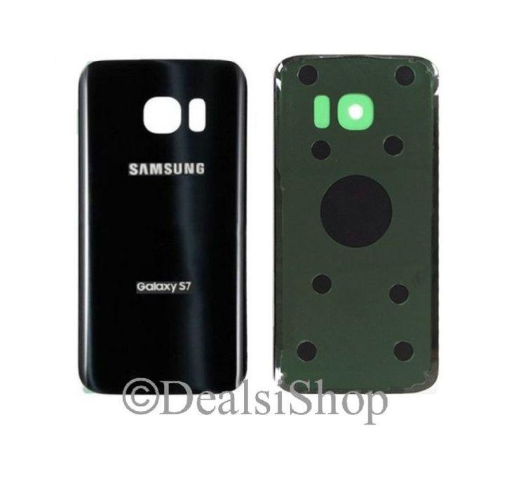 Tmobile Samsung Galaxy S7 G930T Glass Battery Door Rear Cover Black Adhesive USA