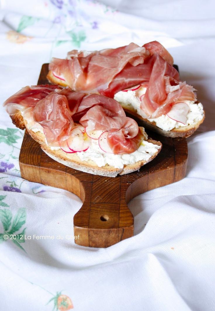La tartina suprema - culatello, robiola cheese and radish open sandwich
