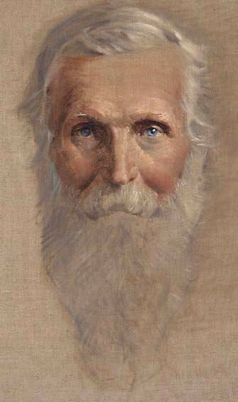 Portrait of John Muir by Bruce Wolfe. This image appeared on the book cover for John Muir by Thurman Wilkins. It was originally used on the cover of Sierra Magazine for the March/April 1985 issue. Used by permission of Joan Hamilton, Sierra editor. The original art work is in her office. Photograph of painting by Graham White.