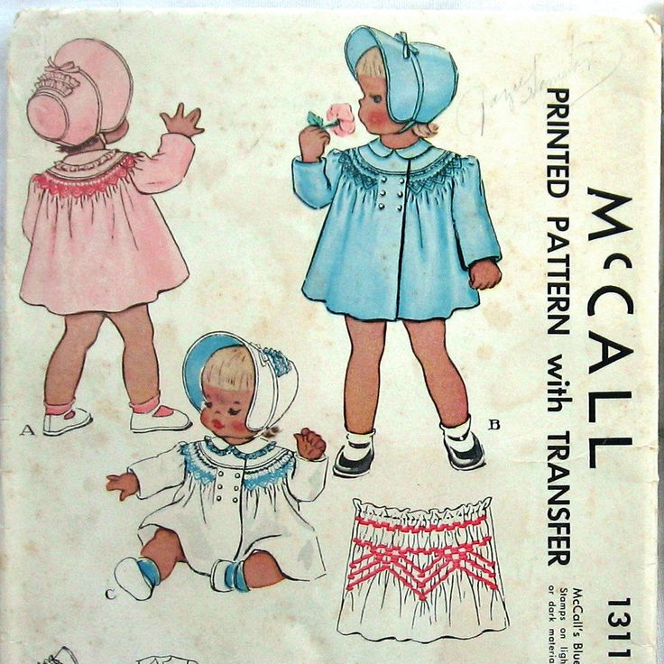 Patterns Kid Vintage Baby Girls Coat Pattern Double Breasted With Bonnet Pattern