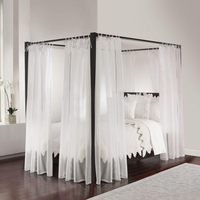 Tie Sheer Canopy Vorhang Set In Weiss Tie Sheer Canopy Vorhang