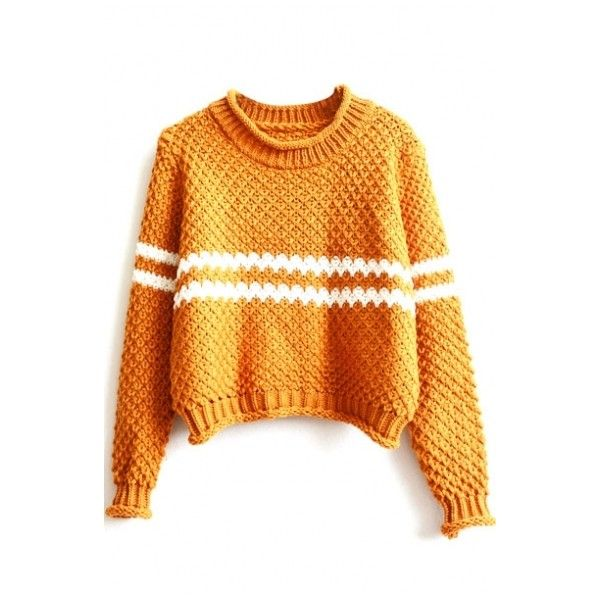 Strip Trims Long Sleeve Color Block Cropped Sweater ($23) ❤ liked on Polyvore featuring tops, sweaters, color block sweater, orange crop top, colorblock top, color block top and stripped sweater