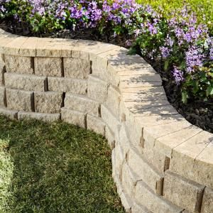Pavestone 8 in Concrete RockWall Pecan Medium Retaining Garden
