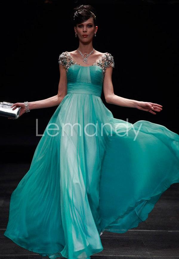 short a line chiffon evening dress
