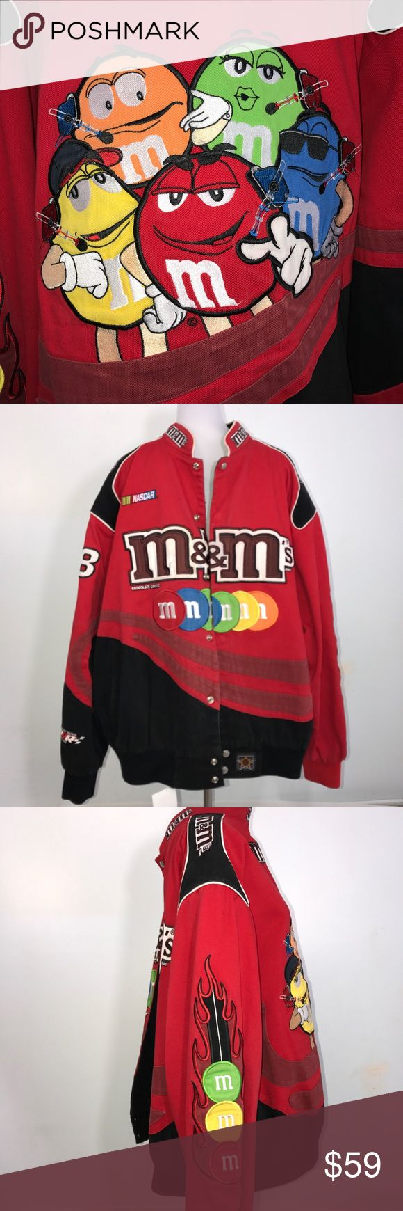 """JH Design Men's NASCAR M&M Jacket Multicolor 4XL JH Design Men's multicolor NASCAR M&M jacket. Incredible patch design. Faded and dye bleeding on front and black. Some piling on inner waistband. Lying flat, approximate measurements are chest 32""""; waist 28""""-32""""; length 30"""". (A2-20) 🌼  AAll items are stored in smoke free, pet free, perfume free environment. No trades or modeling. Same or next day shipping.  Save by bundling. All offers should be submitted with the offer button. JH Design…"""