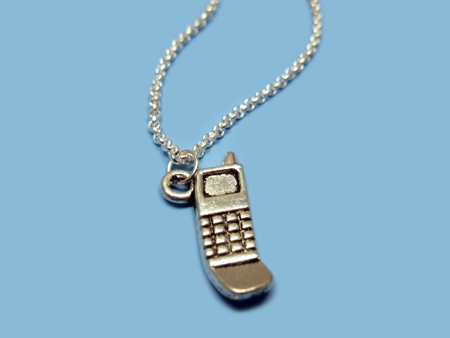 Cell Phone Necklace - geek jewelry funny jewellery gadget mobile quirky funky chic kitschy cute rockabilly fun silver plated szeya designs
