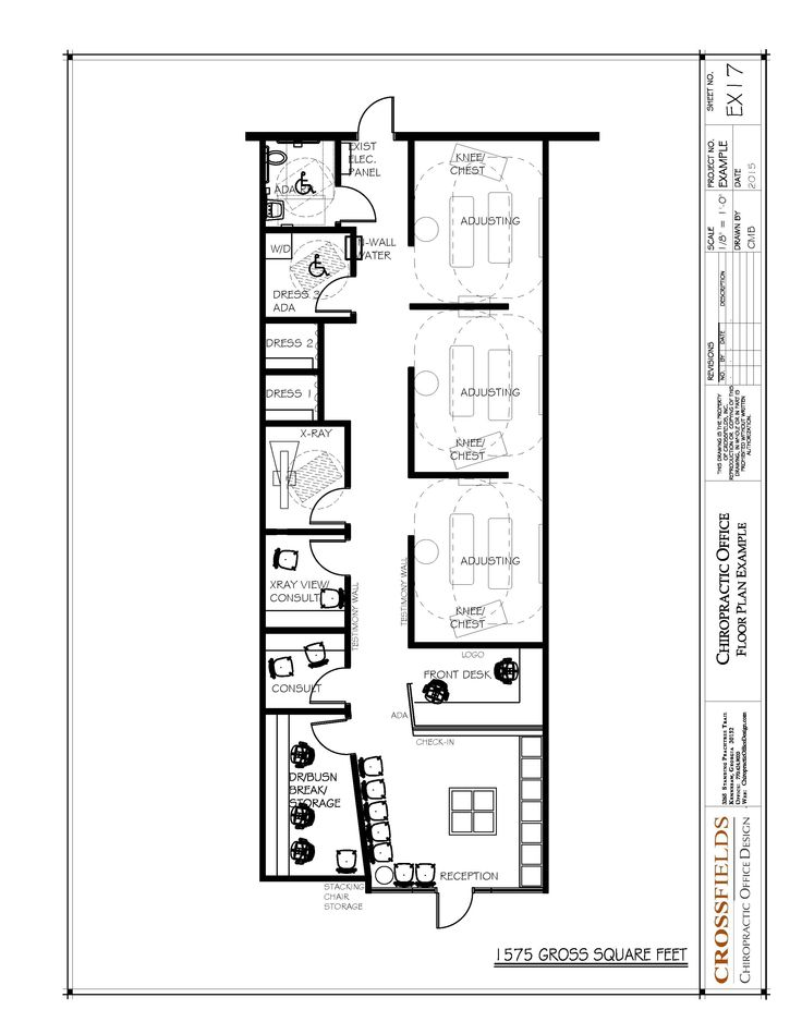 Chiropractic office floor plan semi open adjusting 1575 for Long narrow office layout