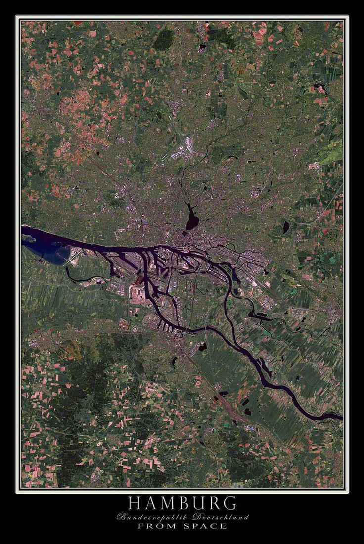 Hamburg Germany Satellite Poster Map