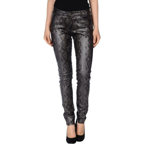 Pinko Grey Casual Trouser ($90) ❤ liked on Polyvore featuring pants, lead, slim pants, black chino pants, snake print pants, slim fit pants and print pants