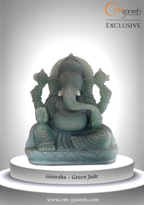 The nurturing shade of this green jade Ganesha idol is a reflection of the benefits it will bring to your lovely home. #Nurturing #Shade #Green #Jade #Ganesha #Idol #GaneshaIdol #Reflection #Benefits #Bring #Lovely #Home #Beautiful #Auspicious #Gifting