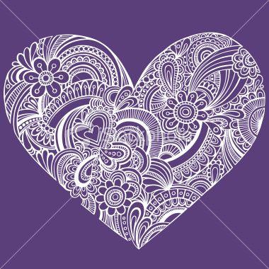Henna Paisley Doodle Heart Tattoo Royalty Free Stock Vector Art Illustration