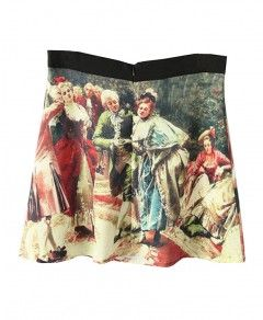 Contrast Color Ink Painting Print A-line Skirt