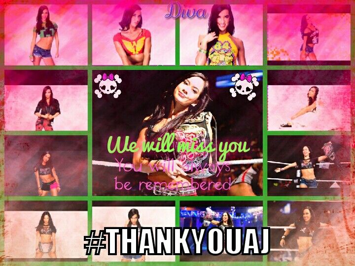 "Aj lee (April Mendez/ April Brooks) you will be missed she proved them wrong i will be a Aj fan forever she is a role model to all little girls and heres a quote "" Don't worry dad i will be in that ring someday"" she will always and i mean always be remembered :') #Thankyouaj"