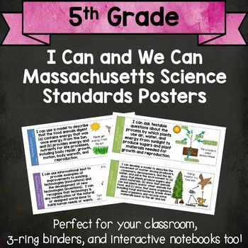 I Can and We Can Massachusetts Science Standards Posters for Grade 5