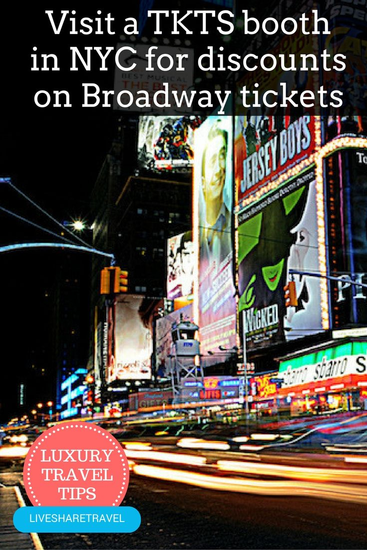 Don't pay full price for Broadway Tickets in New York. Head to a TKTS booth in New York for discounted tickets. Discover 9 tips for affordable luxury for less in New York City now. Places to go in New York / Things to do in New York / Travel tips / Travel discounts / Hotels in New York / Shopping in New York / Attractions in New York
