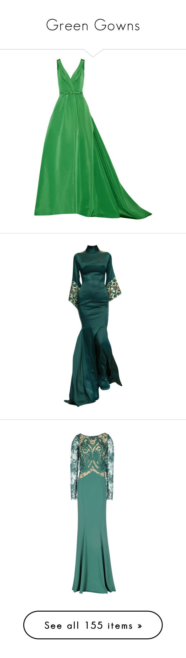 """""""Green Gowns"""" by srta-sr ❤ liked on Polyvore featuring smrgowns, dresses, gowns, oscar de la renta, dresses & rompers, long dress, green, green gown, green silk dress and oscar de la renta gowns"""