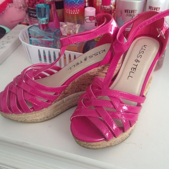 Hot Pink Wedge Sandals Very cute hot pink wedges. Only worn once. Still in original box! Kiss & Tell Shoes Sandals