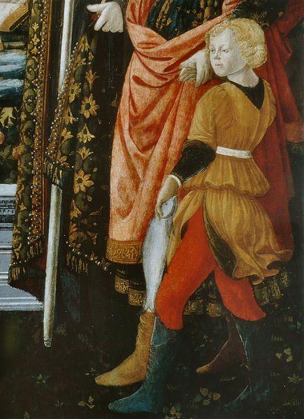 """Fra Filippo Lippi, Tobiolo con il pesce, tenuto per mano dall'Arcangelo Raffaele, dettaglio dalla"""" Madonna della Cintola"""", 1455-1465,  Museo Civico di Prato- Toscana"""