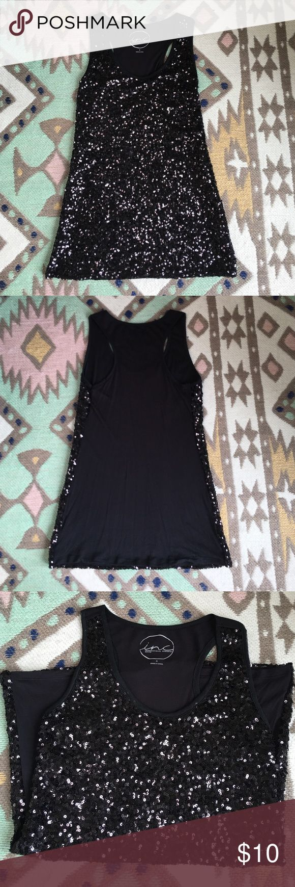 INC Black Sequins Tank INC black sequins tank top, size small.  Wear history: one time. INC International Concepts Tops Tank Tops