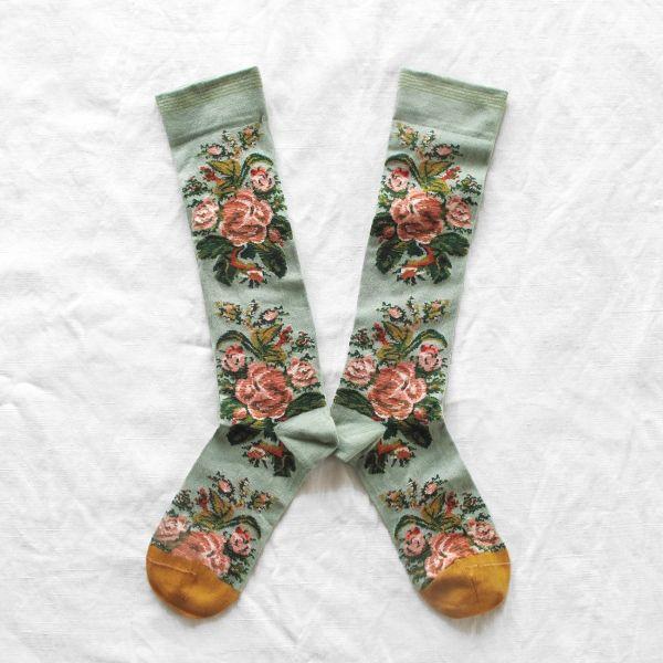Chaussettes hautes Bonne Maison France Fleurs Vert