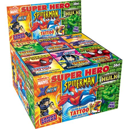 Super Hero Candy Sticks with Tattoo: 30 Count