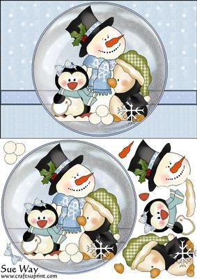 winter snow ...snowman  Christmas Snow Fun Snow Globe Card Front and Topper