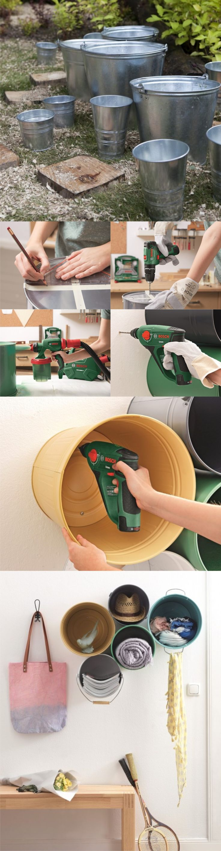 Buckets into storage - great idea for utility and boot rooms. Make sure they are positioned safely and are not extending into space where they might be a hazard.