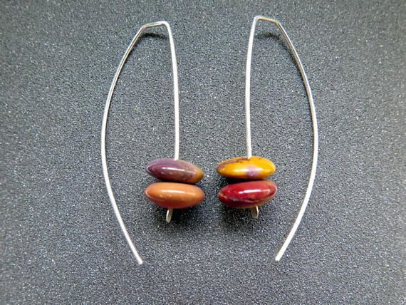 natural stone earrings. mookaite jewelry. modern jewellery handmade by Splurge on etsy.com