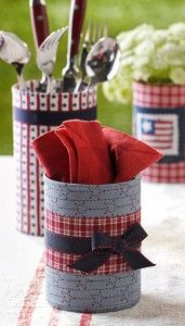Don't know how I never thought of simply wrapping old containers in fabric and ribbons?! Such a great idea! Country Woman Crafts | Patriotic Crafts | Recycled Crafts | Summer Crafts — Country Woman Magazine