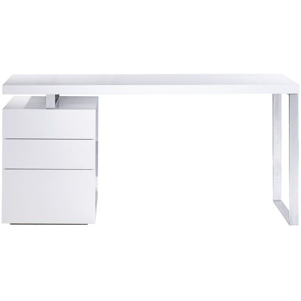 Bellini Tesla 63 x 28 Computer Desk ($1,479) ❤ liked on Polyvore featuring home, furniture, desks, bellini, systems furniture, white desk, white home office desk and bellini furniture