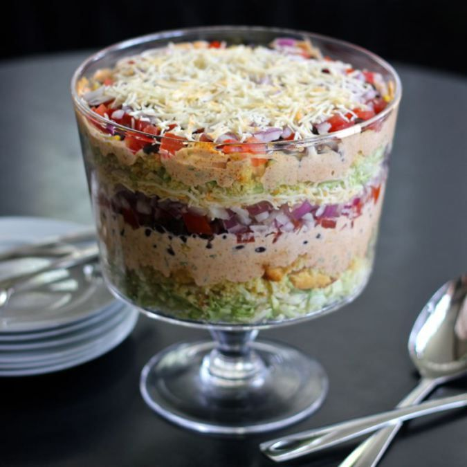 Southern 7 Layered Cornbread Salad ! An Quick Easy to make Delicious Summer Empty Dish Ever time !